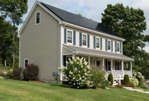 Two-storey house wth solart panel
